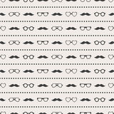 Seamless pattern of glasses and mustache Stock Photo
