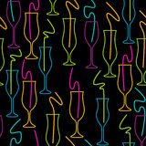 Seamless Pattern of Glasses. Neon colors on a black background Cocktail Party vector illustration. Royalty Free Stock Images