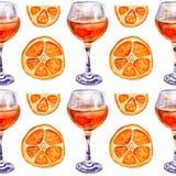 Seamless pattern with glasses of orange juice stock illustration