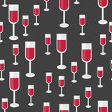 Seamless Pattern with Glasses of Red Wine. Vector Background for Royalty Free Stock Image