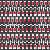 Seamless Pattern with Glasses of Red Wine and Word Wine. Vector Royalty Free Stock Images