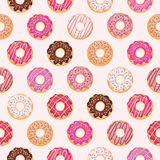 Seamless pattern with glazed donuts. Pink colors. Girly. For print and web Royalty Free Stock Photography