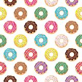 Seamless pattern with glazed donuts. For print and web Royalty Free Stock Image
