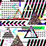 Seamless Pattern Glitch Design. Cyberpunk Digital Background with Geometric Gradient Elements. Abstract Composition. For Fabric Fashion 80s-90s, Posters, Cover Royalty Free Stock Photo