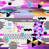 Seamless Pattern Glitch Design. Cyberpunk Digital Background with Geometric Gradient Elements. Abstract Composition. For Fabric Fashion 80s-90s, Posters, Cover Royalty Free Stock Images