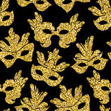 Seamless pattern with glitter carnival mask. Stock Images