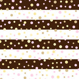 Seamless  pattern with glittering dots on pink glitter stripes.Polka dot pattern. Bright holidays stripes background.Gold gl Stock Photo