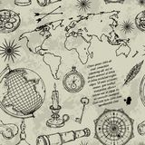 Seamless pattern with globe, compass, world map and wind rose. Vintage science objects set in steampunk style. Vector illustration Stock Photo