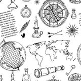 Seamless pattern with globe, compass, world map and wind rose. Vintage science objects set in steampunk style. Vector illustration Royalty Free Stock Photography