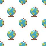 Globe World Map Icon Seamless Pattern. A seamless pattern with a globe or world map flat icon, isolated on white background. Useful also as design element for Stock Photo