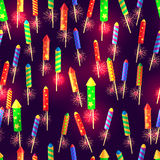 Seamless Pattern of Glossy Exploding Rockets Royalty Free Stock Image