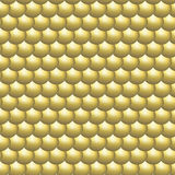 Seamless pattern glossy golden round scales. Iron parts of metal armour Stock Images
