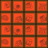 Seamless pattern with glyphs of the Mayan writing Stock Photos