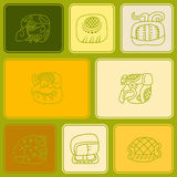Seamless pattern with glyphs of the Mayan writing Royalty Free Stock Photo