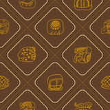 Seamless pattern with glyphs of the Mayan writing Royalty Free Stock Image