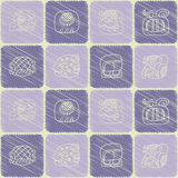 Seamless pattern with glyphs of the Mayan writing Royalty Free Stock Photography