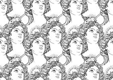 Seamless pattern with goddess portraits of Ancient Greece. High-detailed black outlines isolated on white. Bohemian chic great for textile and print fashion Royalty Free Stock Photo