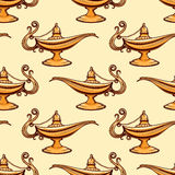 Seamless pattern of gold aladdin lamp Stock Image