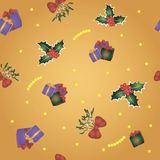 Seamless pattern with gold background