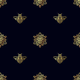 Seamless pattern with gold Bee Stock Images