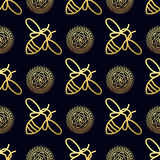 Seamless pattern with gold Bee Stock Photo