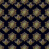 Seamless pattern with gold Bee Royalty Free Stock Photos
