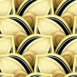 Seamless Pattern with Gold and Black Ethnic Motifs Royalty Free Stock Photo