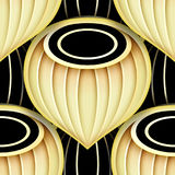 Seamless Pattern with Gold and Black Ethnic Motifs Stock Photography