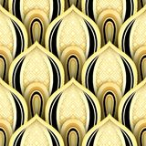 Seamless Pattern with Gold and Black Ethnic Motifs Stock Photo