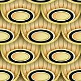 Seamless Pattern with Gold and Black Ethnic Motifs Stock Images