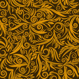 Seamless pattern. Of gold on a brown background. Vector Illustration Stock Image