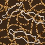 Seamless pattern with gold chain and pearls.vector illustration. vector illustration