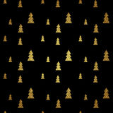 Seamless pattern of gold Christmas tree on black background. Vector stock illustration