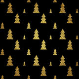 Seamless pattern of gold Christmas tree on black background. Vector illustration. stock illustration