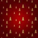 Seamless pattern of gold Christmas tree on red background. Vector illustration. stock illustration