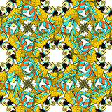Seamless pattern with gold circles dancing fun Caribbean parrot. Vector illustration Royalty Free Stock Photography