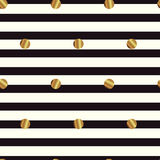 Seamless pattern with gold circles on striped background. Abstract vector background Royalty Free Stock Images