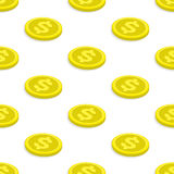 Seamless pattern gold coins Stock Photography