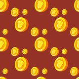 Seamless pattern with gold coins which depicts a nut. Cute background stock illustration