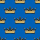 Seamless pattern of gold crowns Royalty Free Stock Images