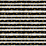 Seamless pattern with gold dots. Seamless pattern of random gold dots on trendy background of white and black stripes. Elegant pattern for background, textile Royalty Free Stock Images