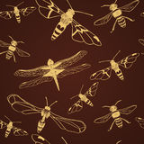 Seamless pattern of  gold dragonfly and bee. Vector illustration Stock Image