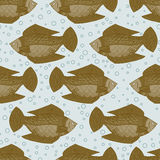 Seamless pattern with gold fish. Vector Wallpaper under water. Seamless pattern background with gold fish. Vector illustration Wallpaper under water. Marine Royalty Free Stock Image
