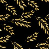 Seamless pattern with gold floral element on black background royalty free illustration