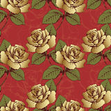 Seamless pattern from gold flowers roses. Woven flowers, buds, leaves and stems on a scarlet background with flowery patterns. Wal. Lpaper, wrapper, packaging Royalty Free Stock Image
