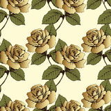 Seamless pattern from gold flowers roses. Woven flowers, buds, leaves and stems on a yellow background. Wallpaper, wrapper, packag Royalty Free Stock Photos