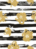 Seamless pattern with gold flowers on the striped background. Stock Photos