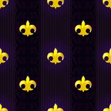 Seamless pattern with fluer de lis on dark background. Seamless pattern with gold fluer de lis on dark background for your Mardi Gras holiday design Royalty Free Stock Images