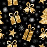 Seamless pattern with gold foil textured bells, gift, fir-tree, star. Golden elements on a black background. Royalty Free Stock Photos