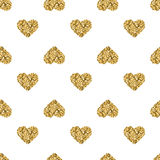 Seamless pattern with gold glitter hearts on white background. Seamless pattern background with gold glitter hearts. Love concept. Cute wallpaper. Good idea for Royalty Free Illustration